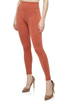 Rust Popcorn Waist Fleece Lined Leggings - 7069041450224