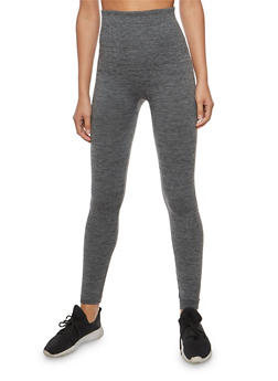 Marled Knit Fleece Lined Leggings - 7069041450227