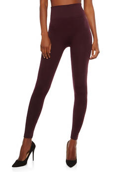 Solid Leggings with Waffle Knit Band - 7069041450257