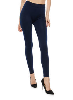 Solid Fleece Lined Leggings - 7069041450729