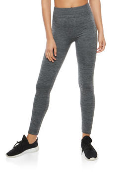Marled Fleece Lined Leggings - 7069041450734