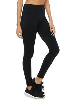 Fleece Lined Black Leggings - 7069041451125