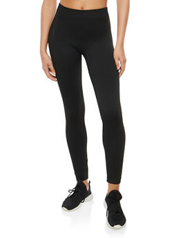 Solid Terry Lined Leggings - 7069041454440