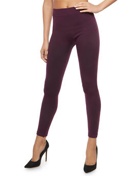 Plum Terry Lined Leggings - 7069041454441