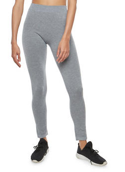 Grey Terry Lined Leggings - 7069041454445
