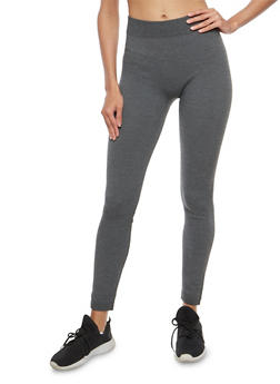 Dark Grey Terry Lined Leggings - 7069041454446