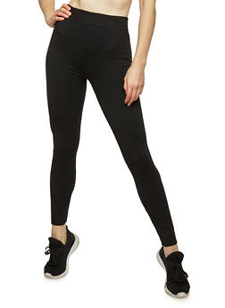 Black French Terry Lined Leggings - 7069059162001