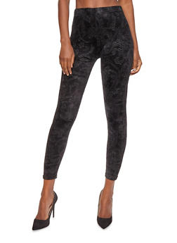 Embossed Velvet Leggings - 7069059164466
