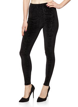 Velour Snake Print Leggings - 7069059164467