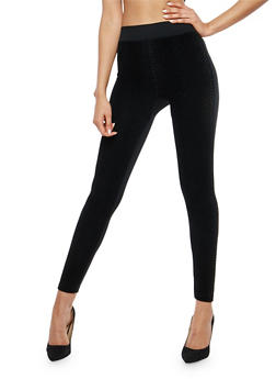 Velvet Embossed Fleece Lined Leggings - 7069059164489