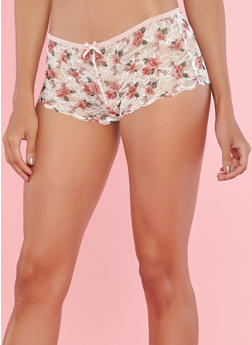 Pink Lace Boyshort Panties - 7150035160679