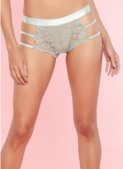 Lace Glitter Caged Side Cheeky Boyshort Panties - 7150035160691