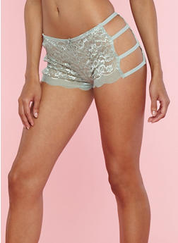Lace Caged Side Boyshort Panties - 7150035160694