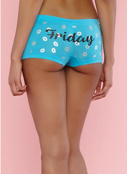 Day of the Week Kiss Boyshort Panties - TURQUOISE - 7150035161359