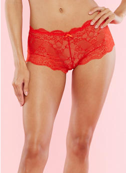 Red Scallop Lace Boyshort Panties - 7150059298245