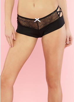 Lace Trim Boyshort Panties with Criss Cross Sides - 7150064870258