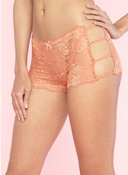 Peach Caged Side Lace Boyshort Panties - 7150064870506