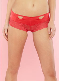 Lace Trim Boyshort Panties with Rhinestone Detail - 7150064877137