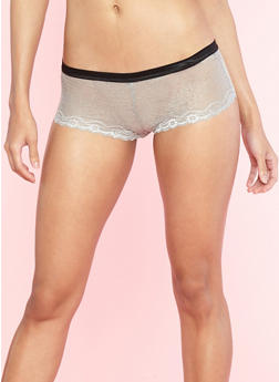 Gray Shimmer Lace Trim Boyshort Panties - 7150064877837