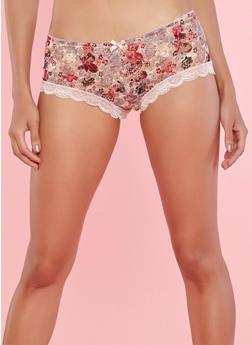 Floral Lace Boyshort Panties - 7150064879795