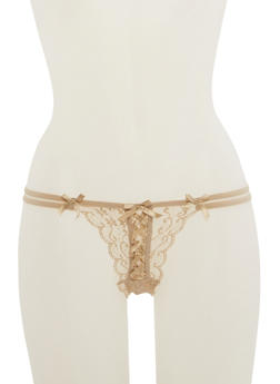 Ribbon Lace Thong Panties - 7162068067571