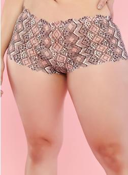 Plus Size Printed Lace Boyshort Panties - 7166035160688