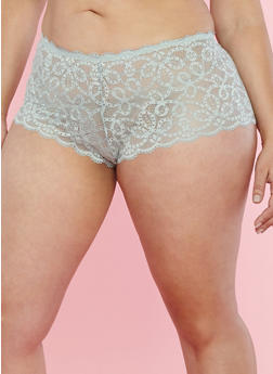 Plus Size Scalloped Lace Boyshort Panties - 7166035160697