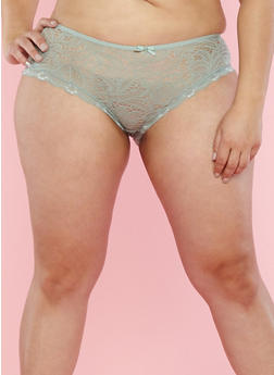 Plus Size Sage Lace Boyshort Panties - 7166035160698