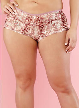 Plus Size Floral Lace Boyshort Panties - 7166035160715