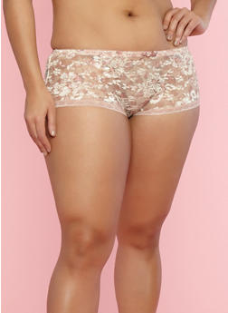 Plus Size Floral Lace Hipster Panties - 7166059290297