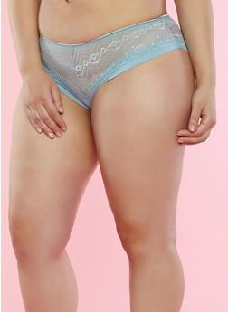 Plus Size Sage Lace and Mesh Boyshort Panties - 7166059298239