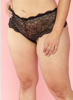 Plus Size Black Cheeky Lace Boyshort Panties - 7166059298244