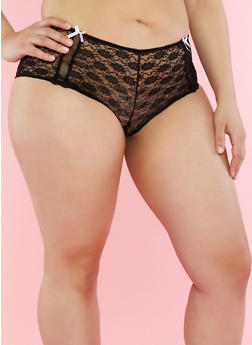 Plus Size Black Lace Boyshort Panties with Fishnet Trim - 7166064870662