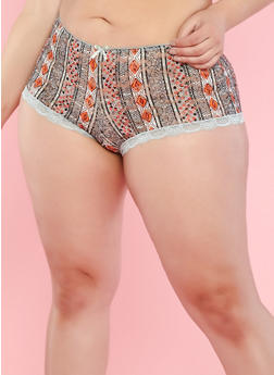 Plus Size Aztec Pattern Lace Boyshort Panties - 7166064870846