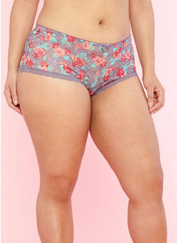 Plus Size Floral Lace Boyshort Panties - 7166064871419