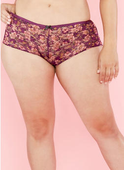 Plus Size Purple Floral Hipster Panties with Caged Back Detail - 7166064875133