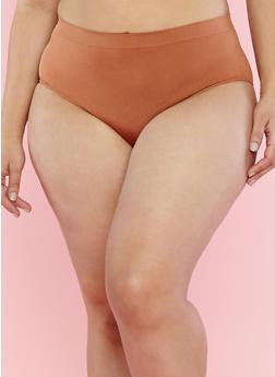 Plus Size Solid Bikini Panties - 7166064877207