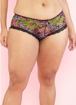 Plus Size Printed Lace Boyshort Panties - 7166064877782