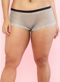 Plus Size Grey Shimmer Lace Boyshort Panties - 7166064877837