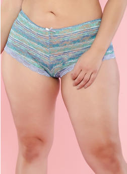 Plus Size Printed Lace Boyshort Panties - 7166064878847