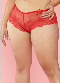 Plus Size Lace Boyshort Panties - 7166068060139