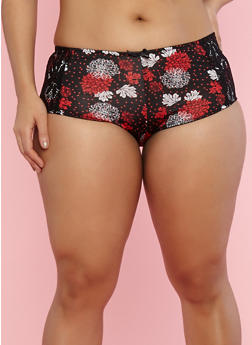 Plus Size Floral Panties with Lace Detail - 7166068060295
