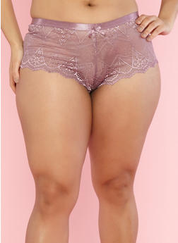 Plus Size Lilac Lace Boyshort Panties - 7166068060728