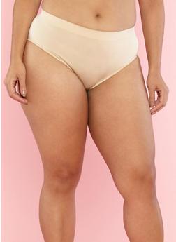 Plus Size Seamless Bikini Panties - NUDE - 7166068061128