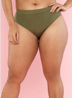 Plus Size Seamless Bikini Panties - OLIVE S - 7166068061128