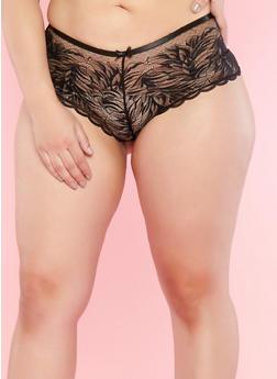 Plus Size Black Lace Mesh Boyshort Panties - 7166068061141