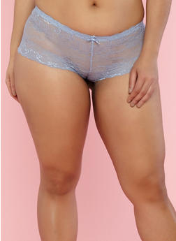 Plus Size Lace Boyshort Panties - 7166068061487