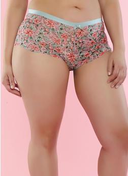 Plus Size Printed Lace Boyshort Panties - 7166068061769