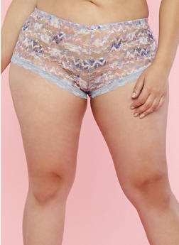 Plus Size Pastel Lace Boyshort Panties - 7166068061779