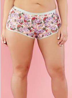 Plus Size Floral Lace Boyshort Panties - 7166068061783
